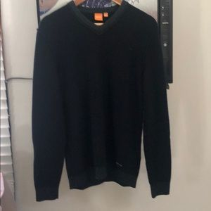 Mens Hugo Boss Orange Label Navy V- Neck Sweater